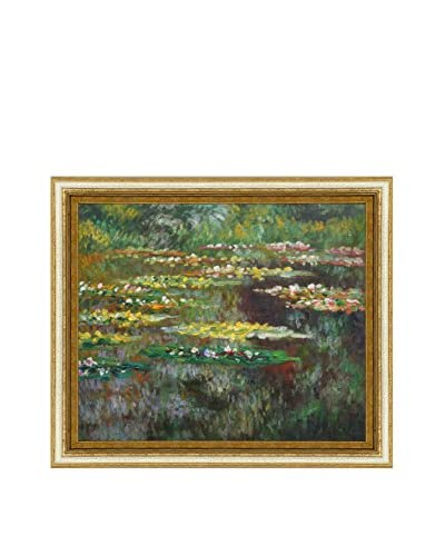 Claude Monet's Water Lilies Framed Hand Painted Oil On Canvas, Multi, 26″ x 30″