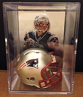 New England Patriots NFL Helmet Shadowbox w/ Tom Brady card