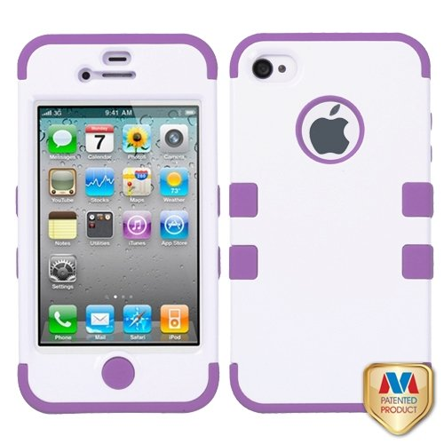 Cell Accessories For Less (Tm) Apple Iphone 4S/4 Ivory White/Electric Purple Tuff Hybrid Phone Case Cover + Bundle (Stylus & Micro Cleaning Cloth) - By Thetargetbuys