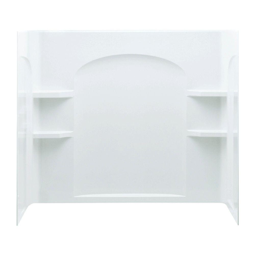 Ensemble 60 in. x 32 in. x 55-1/4 in. Three Piece Direct-to-Stud Shower Wall Set Backer in White dewalt 34 piece 1 4 in