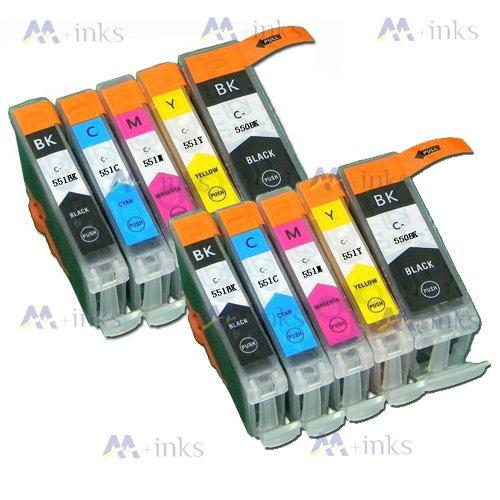 10 Druckerpatronen Kompatibel für Canon PGI550 CLI551 MIT CHIP und Füllstandanzeige für Canon Pixma iP7250 MG5450 MG6350 MX725 MX925 Tintenpatronen kompatibel zu PGI550BK CLI551C CLI551M CLI551Y und CLI551BK