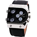 Bargain Oulm Man's Fashion Watch with 3 Quartz Movement Dial Leather Band Black by AHMET