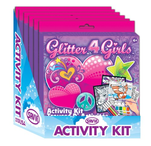 Savvi Glitter 4 Girls Coloring Activity Kit (6-Pack) - 1