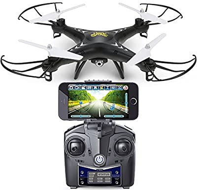 DEERC HS110W FPV Drone with 720P HD Live Video Wifi Camera 2.4GHz 4CH 6-Axis Gyro RC Quadcopter with Altitude Hold, Gravity Sensor and Headless Mode Function RTF Includes Bonus Power Bank, Black from DEERC