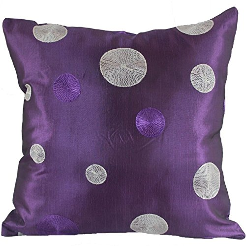 Narphosit Thai Silk Decorative Cushion Cover Purple and White Dot 18