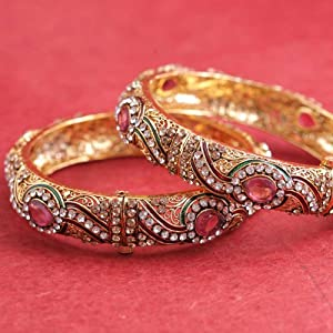 Prystal Women Bangles and Bracelets PYKA 08 31 Red Green Gold