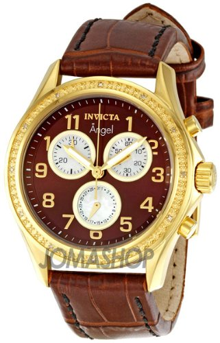 Invicta Women's 0580 Angel Collection Chronograph Brown Dial Brown Leather Watch