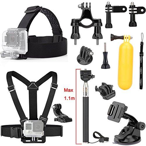 Luxebell® 9in1 monopiede per GoPro accessori del corredo Set Gopro Eroe 4 Hero Hero 3 3+ hero 2 SJ4000 SJ5000 + cintura toracica Head Strap + + Sicuro Life + telescopica monopiede + ventosa + J-hook + Tripod Adapter