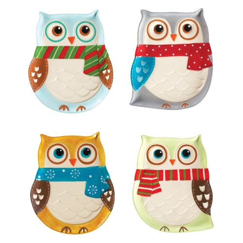 Boston Warehouse Earthenware Snowy Owls Cocktail Plate, Set of 4 - 1