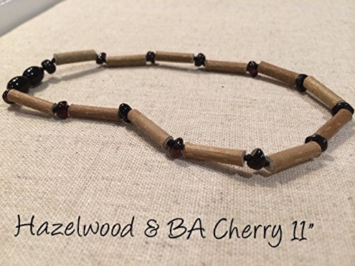 Black Cherry Hazelwood 11 inch Baltic Amber Necklace for babies baby infant toddler bub for Gut issues; Eczema, Colic, Reflux, GERD, heartburn, and ulcers. 100% Satisfaction Guaranteed. 28 cm Hazel wood