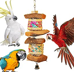 Boredom Relieving Foraging Coconut and Palm Leave Barrel Bird Toys for Foraging, Preening, Shredding & Chewing (Large)