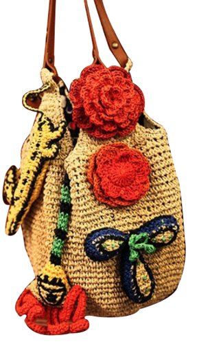 Bohemia Straw Weaven Shoulder Bag Fashion Travel Beach Tote 017