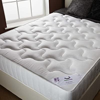 Happy Beds Neptune Semi Orthopaedic Spring Mattress Damask Fabric Bedroom