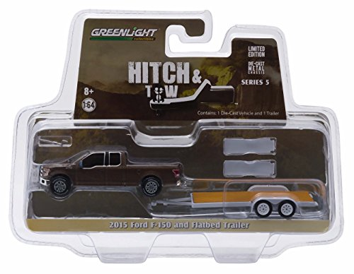 2015 FORD F-150 & FLATBED TRAILER * Hitch & Tow Series 5 * 2015 Greenlight Collectibles Truck & Trailer Limited Edition 1:64 Scale Die-Cast Vehicle Set ... (1 64 Enclosed Trailer compare prices)