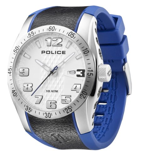 Police Men's Topgear X Watch 12557Js/04B with Blue Pu,Black Leather Strap and Silver Dial