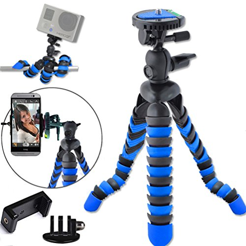 "Universal 12"" Inch Digital SLR Flexible Tripod Wrapable Legs Quick Release Plate for GoPro HERO 1 2 3 3+ 4, iPhone 6 Plus 5S Samsung S4 S5 S6 Smartphone+GoPro Tripod Mount+Cell Phone Tripod Adapter"