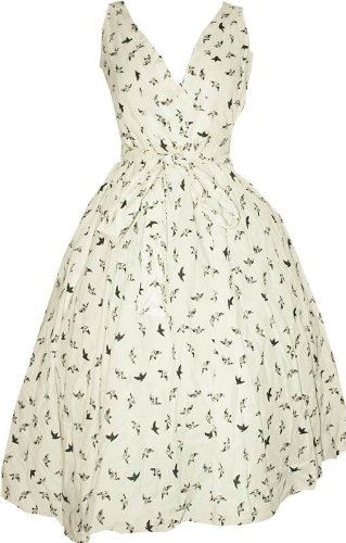 New Ladies Kushi Vintage Retro White Black Swing 1950s Style