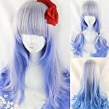 Women's Cosplay Party Wig Prop Silver Blue Color Highlights Wavy Curly Hair Extensions