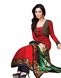 Indiweaves Womens Cotton Wear Red Dress Material