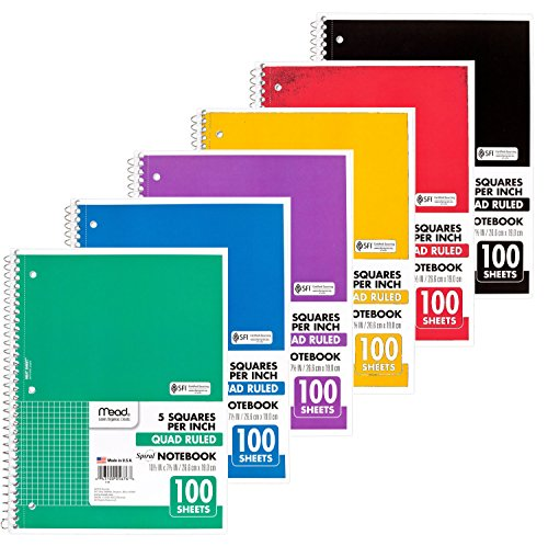 Mead Spiral Quad Ruled Notebook, 1 subject 5 squares per inch 100 Sheets, 6 Pack (Spiral Quad Ruled compare prices)