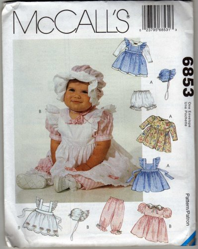 Mccall'S 6853 Sewing Pattern Infants Pinafore Dress Panties Pantaloons Bonnet Size Small - X-Large front-888695