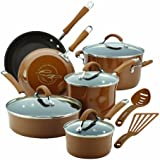 Rachael Ray Cucina Porcelain Enamel Nonstick 12-Piece Cookware Set, Mushroom Brown