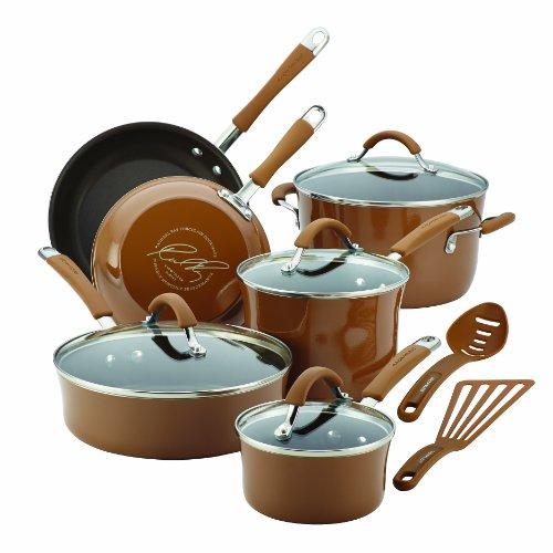 Rachael Ray Cucina Hard Porcelain Enamel Nonstick Cookware Set, 12-Piece, Mushroom Brown