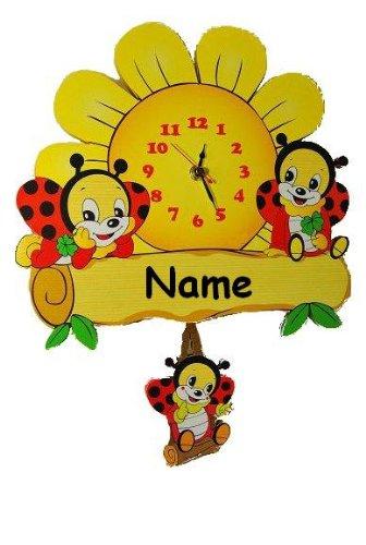 Wanduhr Uhr Holz Kinder Kinderzimmer Kinderuhr ~ Wanduhr Uhr Holz Kinder Kinderzimmer Kinderuhr mit Pendel Marienkäfer