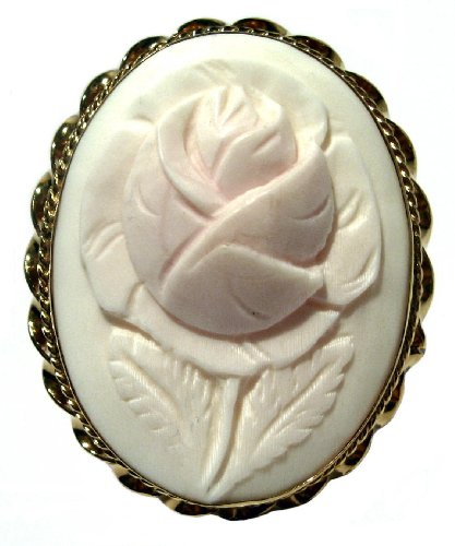 Master Carved Pink Shell Cameo Ring 18k Gold Over Sterling Silver Size 8.5