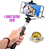 SPECIAL! Foldable Selfie Stick iShot Ultra- Wired, Compact Handheld Extendable Monopod, Remote Shutter, Lightweight, Durable, Plug & Play, No Battery No Charging No Bluetooth Pairing- Apple, iPhone, Android, Samsung, tech (Pink)