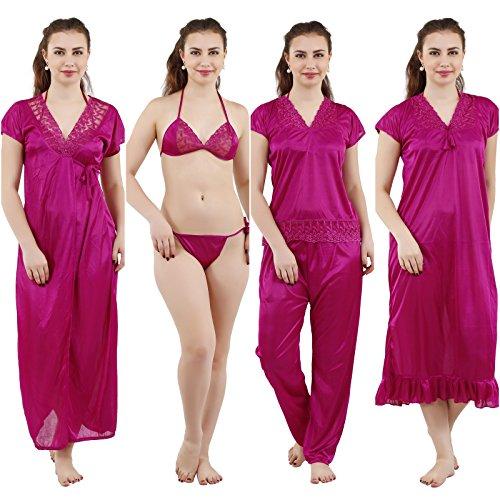 Romaisa Women s Satin Nightwear Set of 6 Pcs Nighty 3c94a0df0