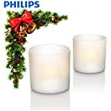 Philips 70076/31/PU Plastic Rechargeable Flameless Flickering LED Tea Light Candle Set - 6cm Tall, White - Suitable for Garden, Patio, Kitchen, Bedroom, Bathroom, Conservatory, Livingroom