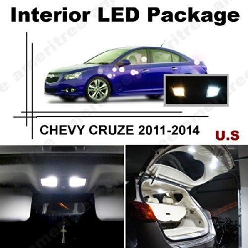 Ameritree Xenon White Led Lights Interior Package + White Led License Plate Kit For Chevy Cruze 2011-2014 (10 Pcs)