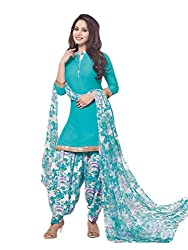 PShopee Sky Blue Synthetic Printed Unstitched Semi Patiyala Suit Dress Material