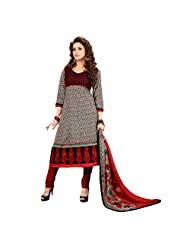 Women's Black & Maroon Cotton Embroidered Semi Stitched Suit
