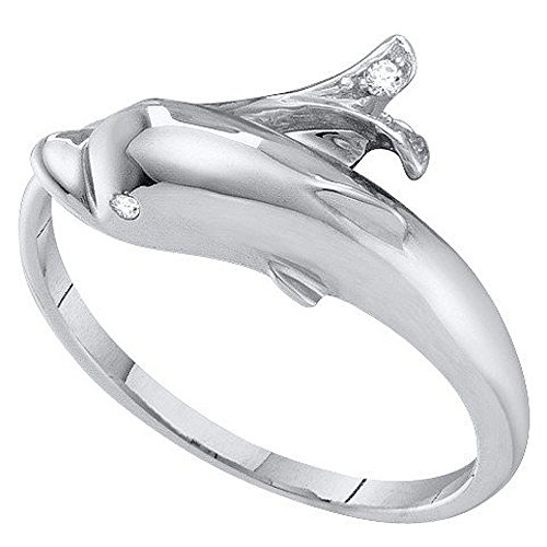 0.03 Carat (Ctw) 10K White Gold Round Cut White Diamond Ladies Right Hand Dolphin Ring