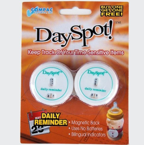 Baby Buddy Dayspot Daily Reminder, White, 2 Count front-557018