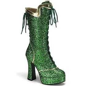 Vegan green glitter platform boots