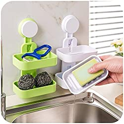 Woogor Double Layer Plastic Suction Soap Dishes Bathroom Wall Holder Toilet Shower Tray Drain Kitchen Tools