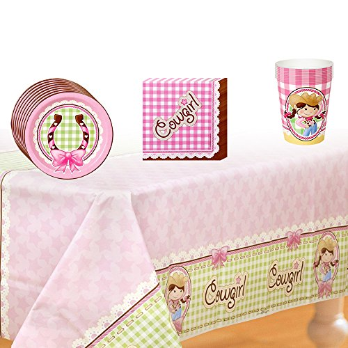 Pink Cowgirl Party Supplies Pack Including Plates, Cups, Napkins and Tablecover - 8 Guests