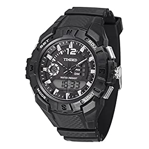 TIME100 Multifunction LCD Dual-time Display Silicone Strap Grey Outdoor Sports Digital Watch #W40111G.03A