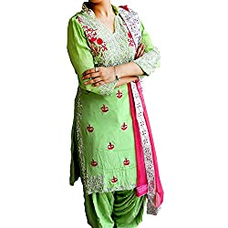 Reet Glamour Women 's Crepe Unstitched Green Heavy Embroidered Suit