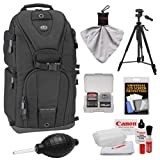 Tamrac 5786 Evolution 6 Photo Digital SLR Camera Sling Backpack (Black) with Tripod + Canon Cleaning Kit for Canon EOS 70D, 6D, 5D Mark III, Rebel T3, T5i, SL1