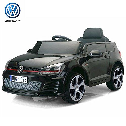 Bakaji Auto Elettrica per Bambini 12V Volkswagen Golf 1Posto SD con Radiocomando colore Nero, con luci a LED, attacco Aux MP3, portiere Apribili e Cintura di sicurezza