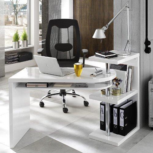 Design scrivania/tavolo di angolo Taranto Duo, bianco lucido, con porta