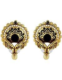 Gehnamart Yellow Gold Plated Imitation Black And Enamel Designer Stud Earring