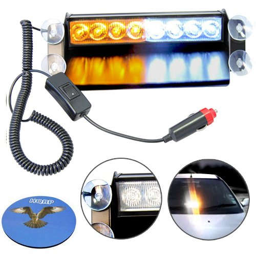HQRP White / Amber 8 LED Visor Dashboard Emergency Strobe Lights with 4 Suction Cups plus HQRP Coaster
