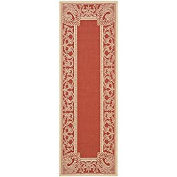 Safavieh Courtyard Collection CY2965-3707 Red and Natural Indoor/ Outdoor Runner, 2 feet 3 inches by 10 feet (2\'3\