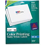 Avery Inkjet Labels for Color Printing, 1 x 2-5/8, Matte White, 600/Pk - AVE8250