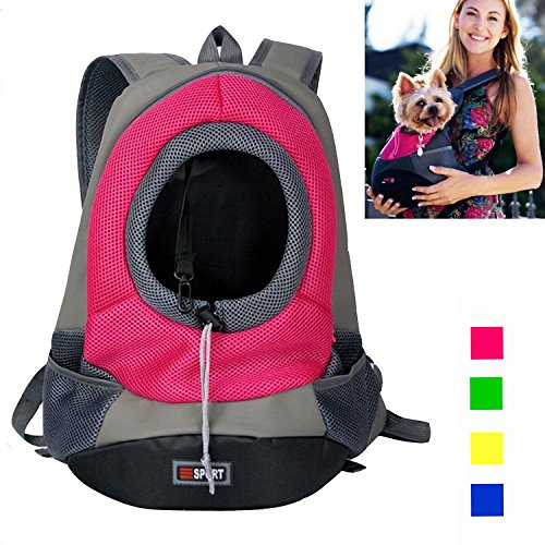 Dog Carrier, YAMAY® Pet Cat Carrier Front Pack Carrying Backpack for Small Dogs Girl Boy Leather+Nylon Mesh Hands Free Soft Sided Head Out Carry Shoulder Bag for Bicycle Bike Car Walking Hiking Travel